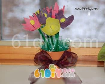 Egg carton handmade flower making