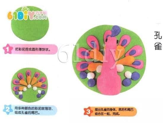Children's Color Mud Tutorial - Peacock