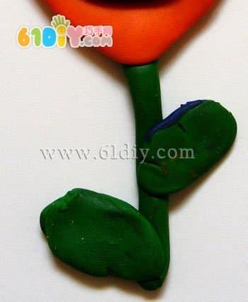 Clay making tulip handmade