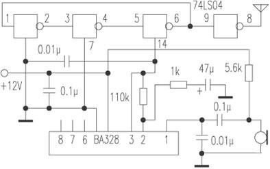 Wireless microphone circuit made by NAND circuit