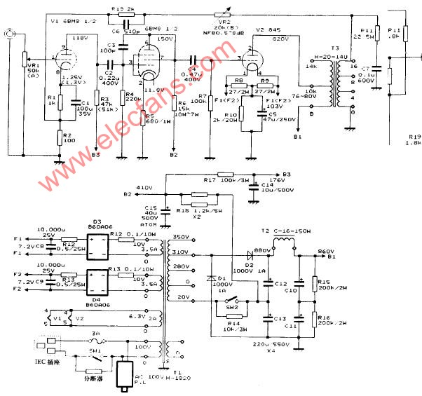 845 single-ended power amplifier circuit diagram