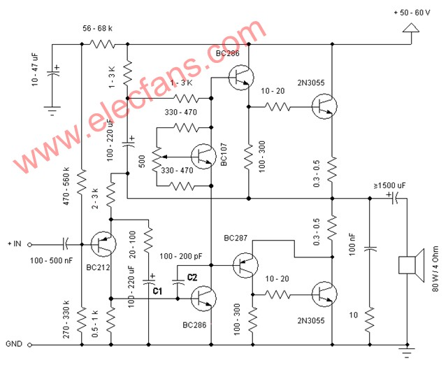 Simple and practical three-pole power amplifier circuit