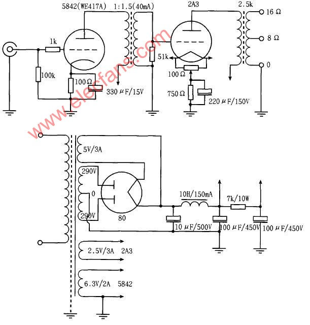 Simple 2A3 (2A3SE-4W) single-ended power amplifier circuit