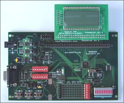 Figure 1. The MAXQ2000 evaluation board with the LCD board installed