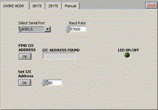Figure 1. LabView interface through which the user configures the system to prepare for work