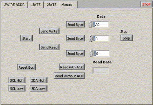 Figure 4. The MANUAL control tag allows the user to define the number of bytes of operation and the desired read or write operation.