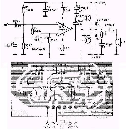 TDA2030 power amplifier integrated block and BD907 / BD908 ...