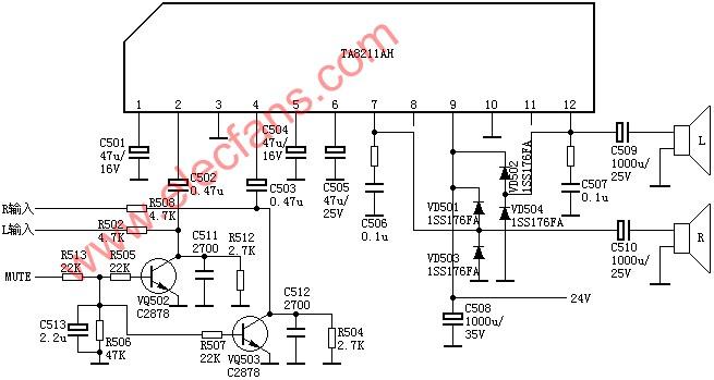 TA8211 / TA8211AH dual-channel power amplifier circuit