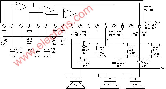 TA8218 / TA8218H three-channel power amplifier circuit diagram