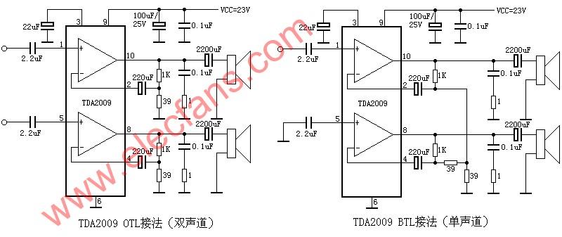 TDA2009 OTL single / dual channel power amplifier circuit diagram