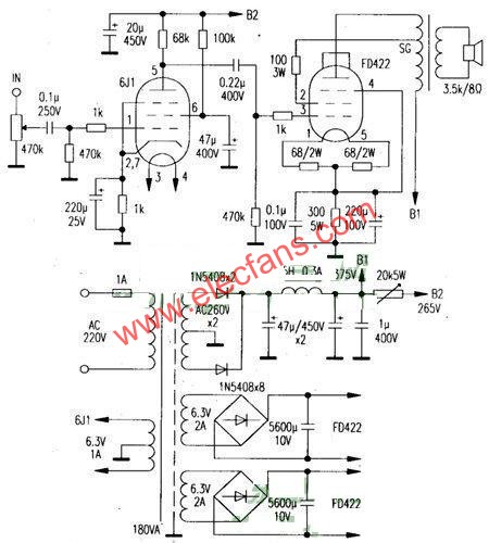Circuit diagram of 2 × 12W power amplifier produced by Class A single-ended bile duct FD422