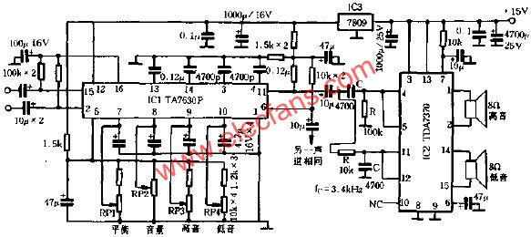 Concise front-end crossover power amplifier circuit diagram