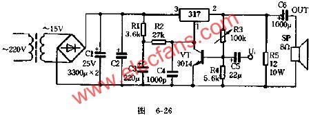 Circuit diagram of using voltage regulator IC as power amplifier