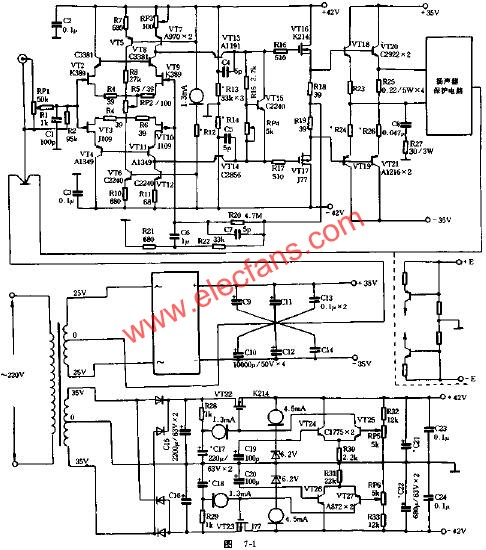 50W pure class A push-pull power amplifier circuit diagram