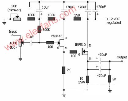 JFET-MOSFET headphone amplifier circuit