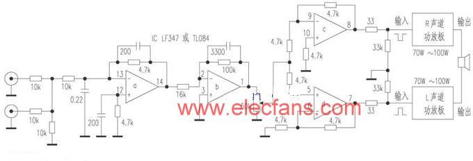 BTL power consisting of LM3886 or TDA7294 single power amplifier ...