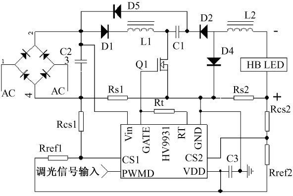 Figure 2 LED street light driver circuit based on HV9931