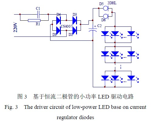 Low-power LED driving circuit based on constant current diode