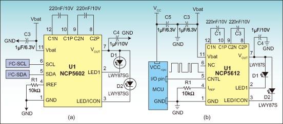 2 LED charging pump driver applications