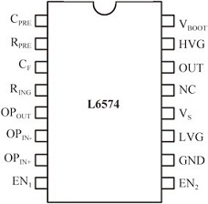 Pinout of the L6574