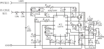 58W ballast circuit based on L6574