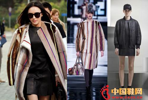 秦岚的这套造型来自于Fendi2013秋冬皮草大衣