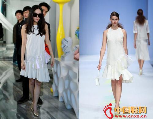 秦岚身穿FanRan2014春夏白色连衣裙