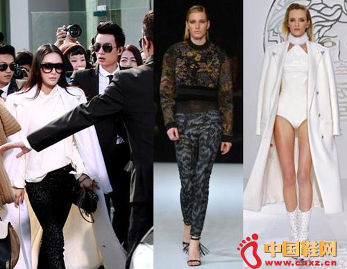 秦岚身穿范思哲 (Versace) 2013秋冬系列白色长大衣