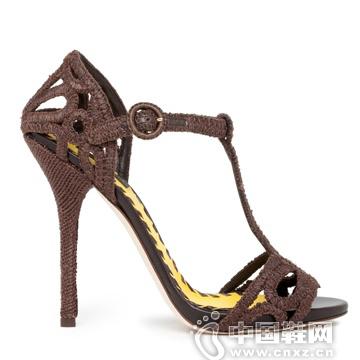 Dolce & Gabbana 棕色编织镂空花高跟鞋