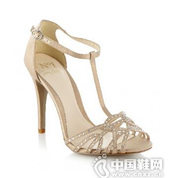 Jenny Packham裸色镶钻高跟凉鞋