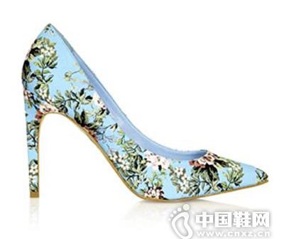Topshop蓝色印花高跟鞋