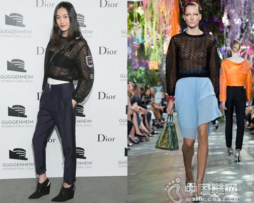 秦舒培身穿Dior 2014秋冬成衣系列