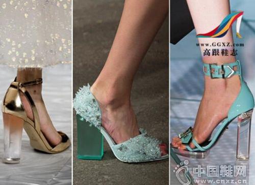半透明厚高跟鞋系列