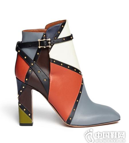 VALENTINO 方头拼色粗跟短靴