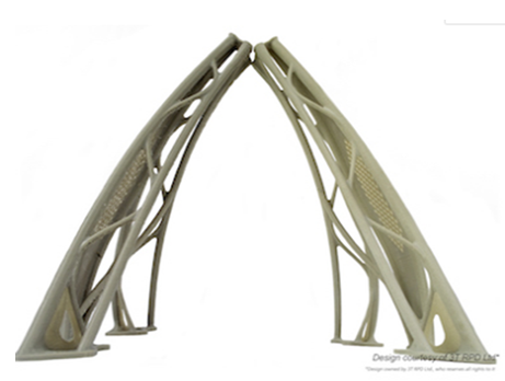 The demonstration frame is produced by additive manufacturing of a special PAEK resin.