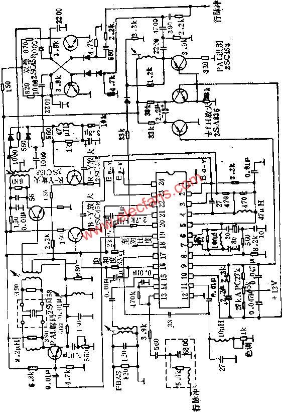 Application circuit diagram of KC580C color decoding circuit