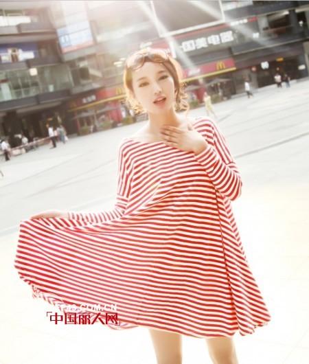 条纹连衣裙冬季打底会显瘦吗