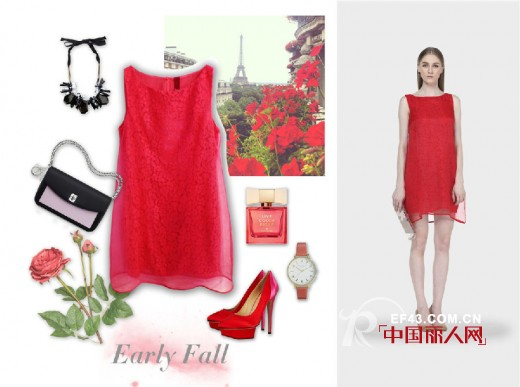 红色与蕾丝、波点装的搭配 做个红粉佳人