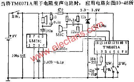TM0071A for push-button audible circuit diagram