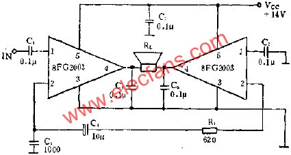 8FG2003 is the application of BTL amplifier circuit