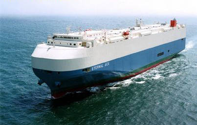 Merchant ship Mitsui uses friction-reducing paint on car carriers