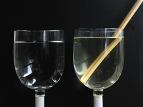 Disposable chopsticks soaked in water