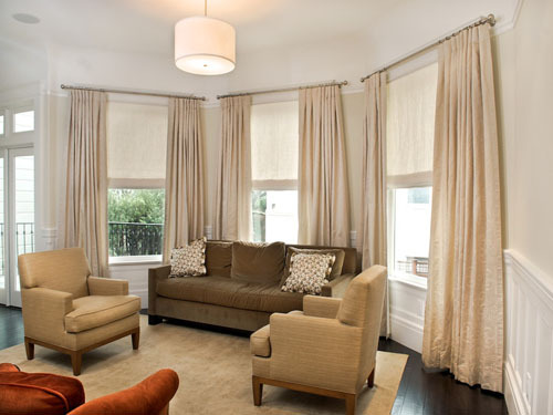 What is the color of the living room curtains