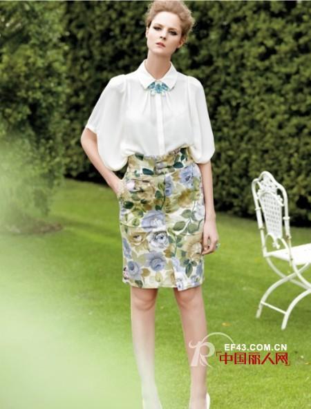 曼娅奴2014春夏裙装搭配 抢眼印花聚焦视觉亮点