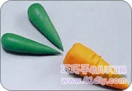 4, use green material to make two fat drop shapes for carrot leaves.