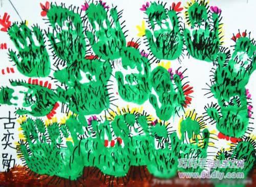 Creative hand prints - cactus