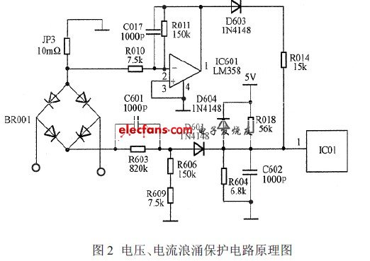 Voltage and current surge protection circuit schematic