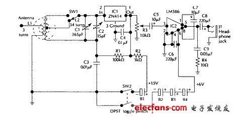 Schematic diagram of tuned jet shortwave receiver
