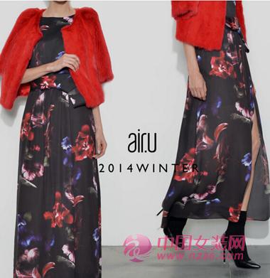 air.u皑如2014冬装新品 暗香系列印花长裙(图2)