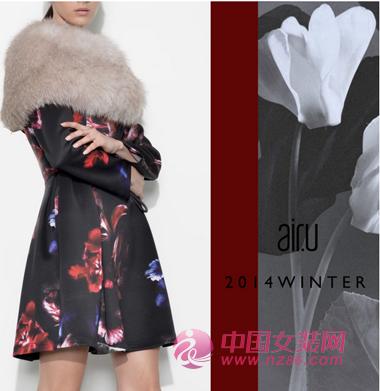 air.u皑如2014冬装新品 暗香系列印花长裙(图3)